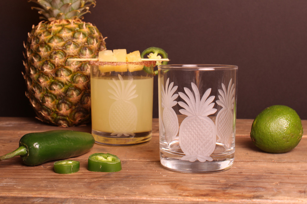 Pineapple Etched DOF Glasses - Set of 4