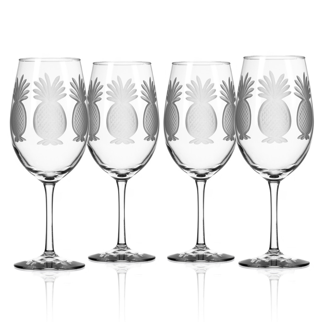 Pineapple Etched Large Wine Goblets-Set of 4
