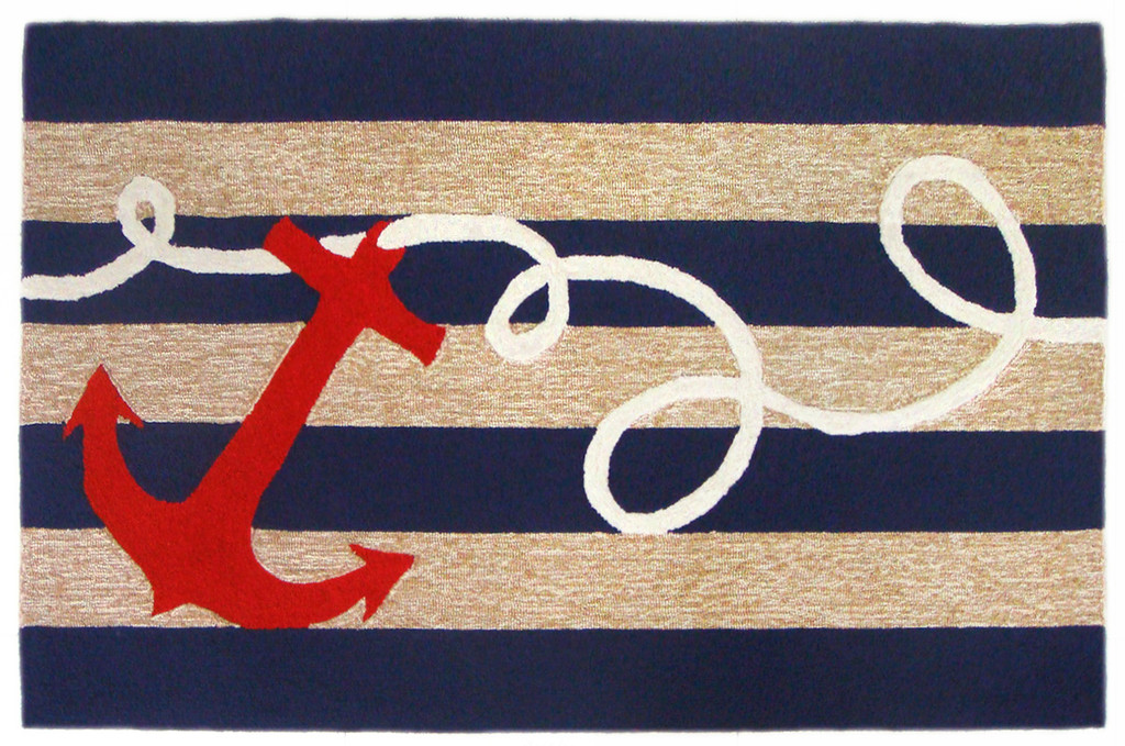 Anchor and Rope Navy Striped Area Rug - Larger size rugs