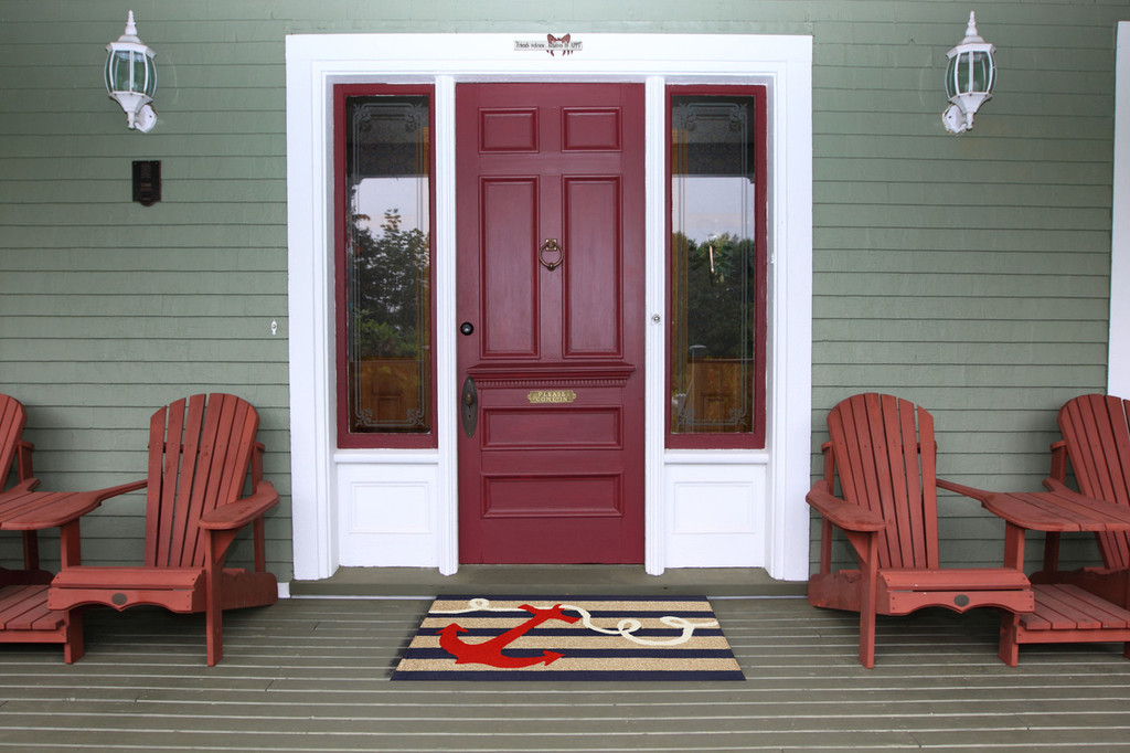 Anchor and Rope Navy Striped Area Rug - front porch image