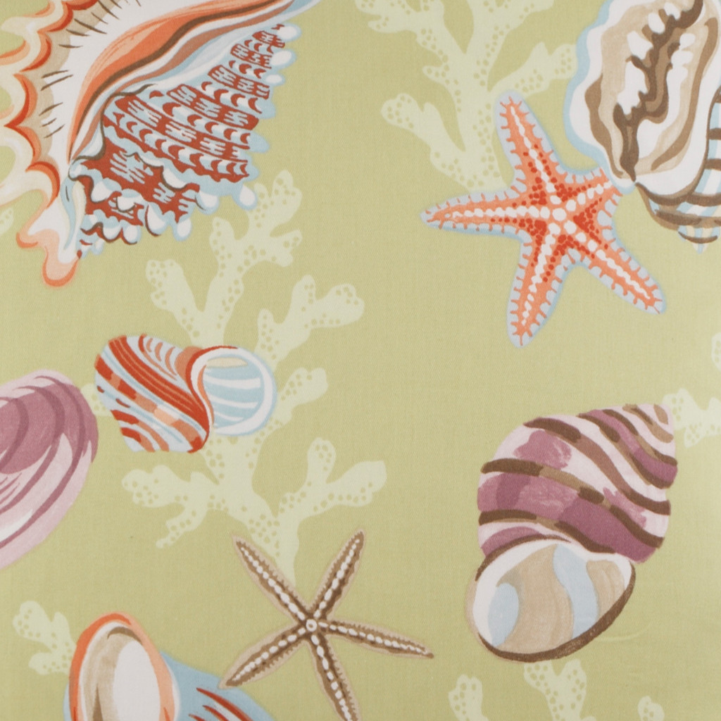 Coral and Shells Beach Luxury Pillow fabric close up
