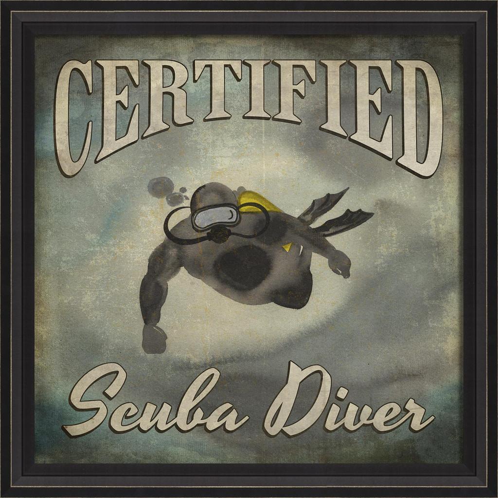 Certified Scuba Diver Beach Poster Wall Art black frame