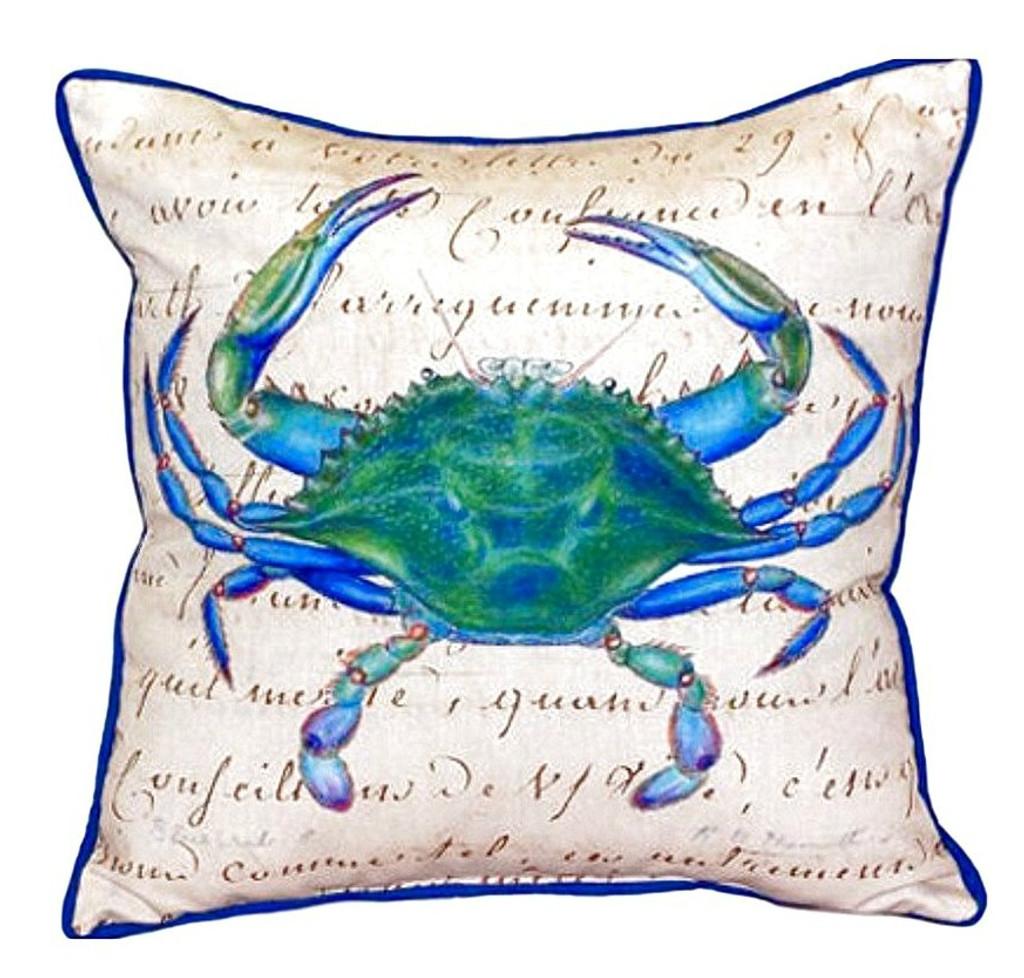 Male Blue Crab Beige Beach House Pillow