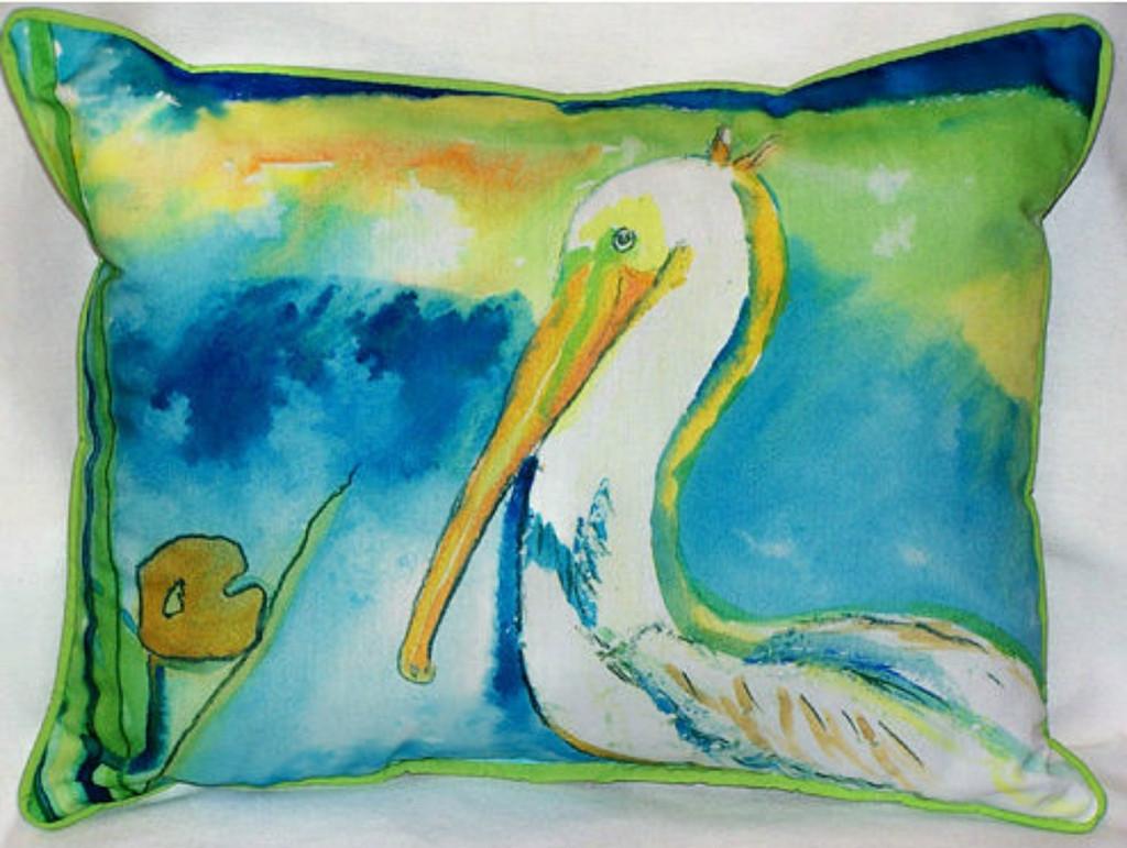 White Pelican Beach Pillow