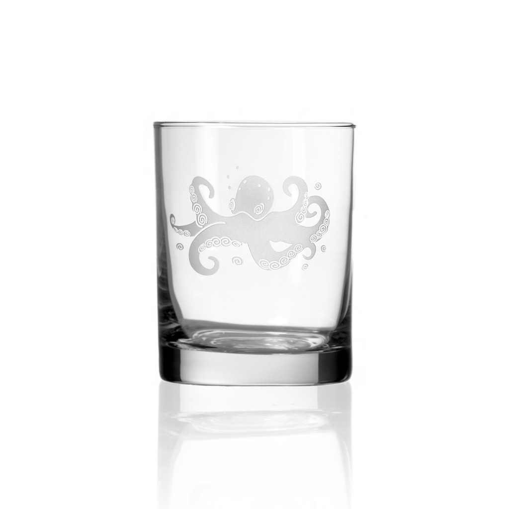 Octopus Etched Double Old Fashioned Set of 4 Glasses - single glass