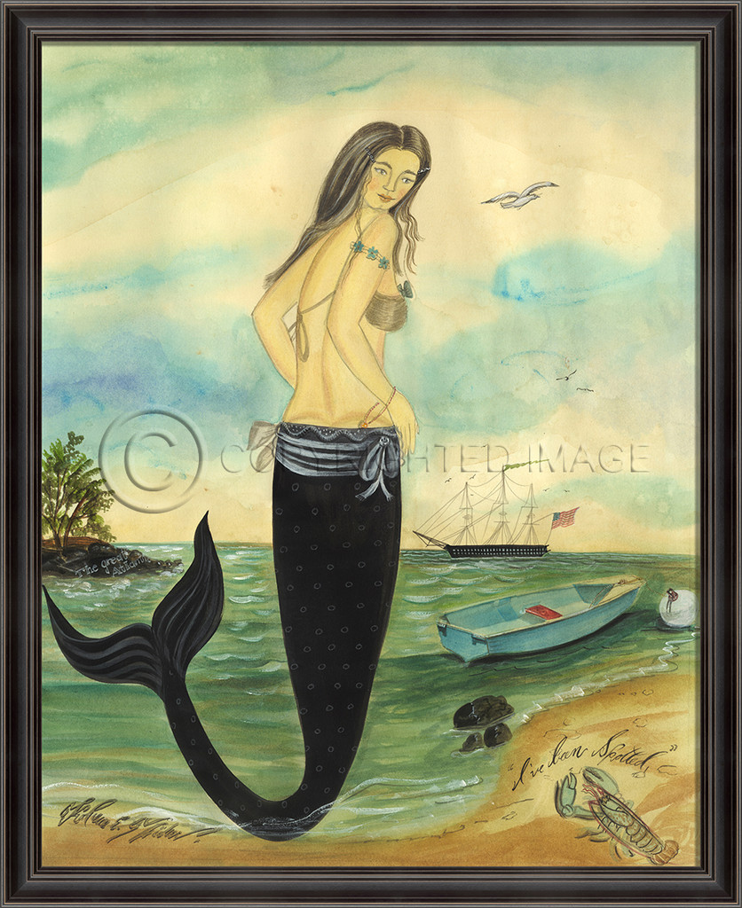 I've Been Spotted - Medium Framed Mermaid Art