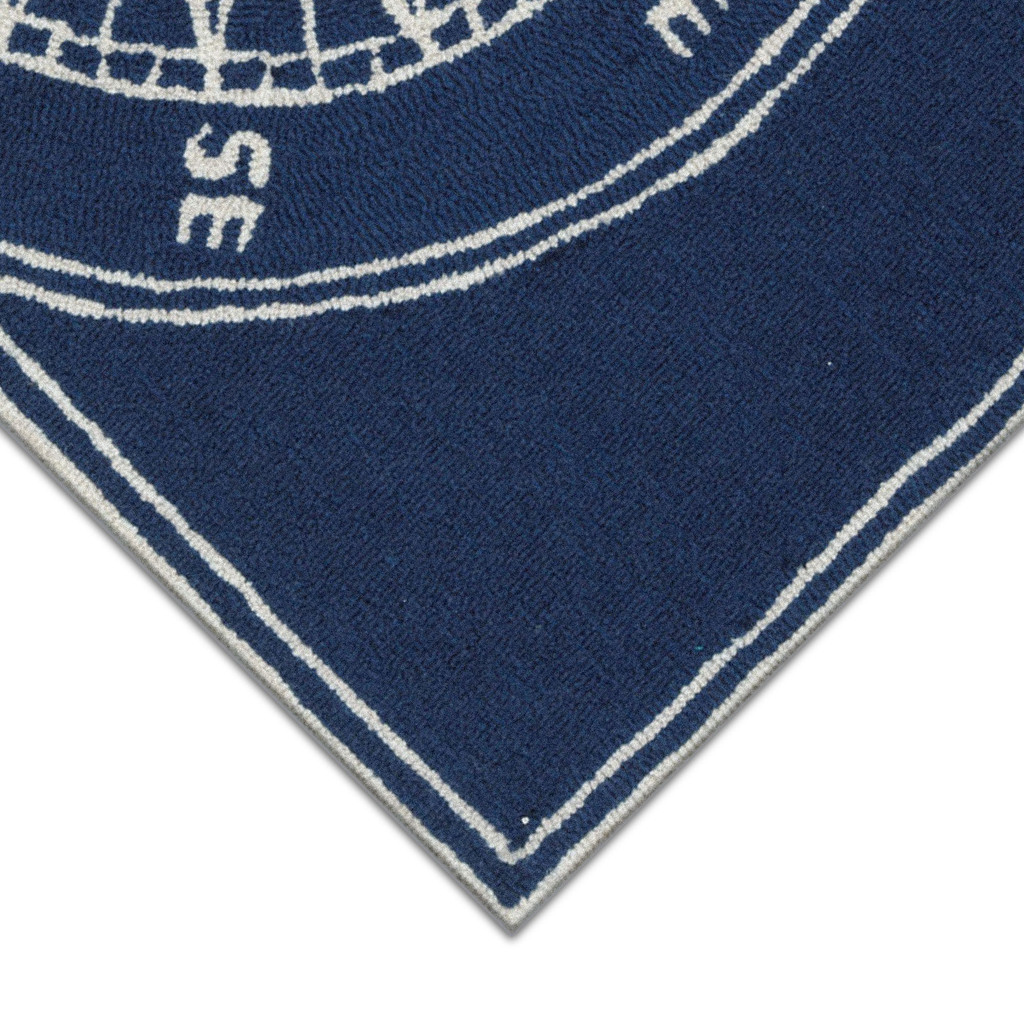 Anchor and Rope Navy Striped Area Rug corner