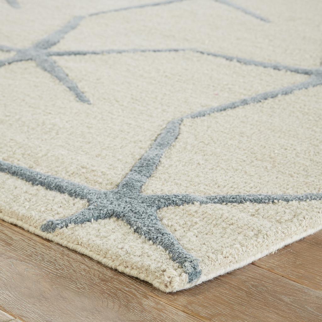Blue Starfishing Wool Area Rug