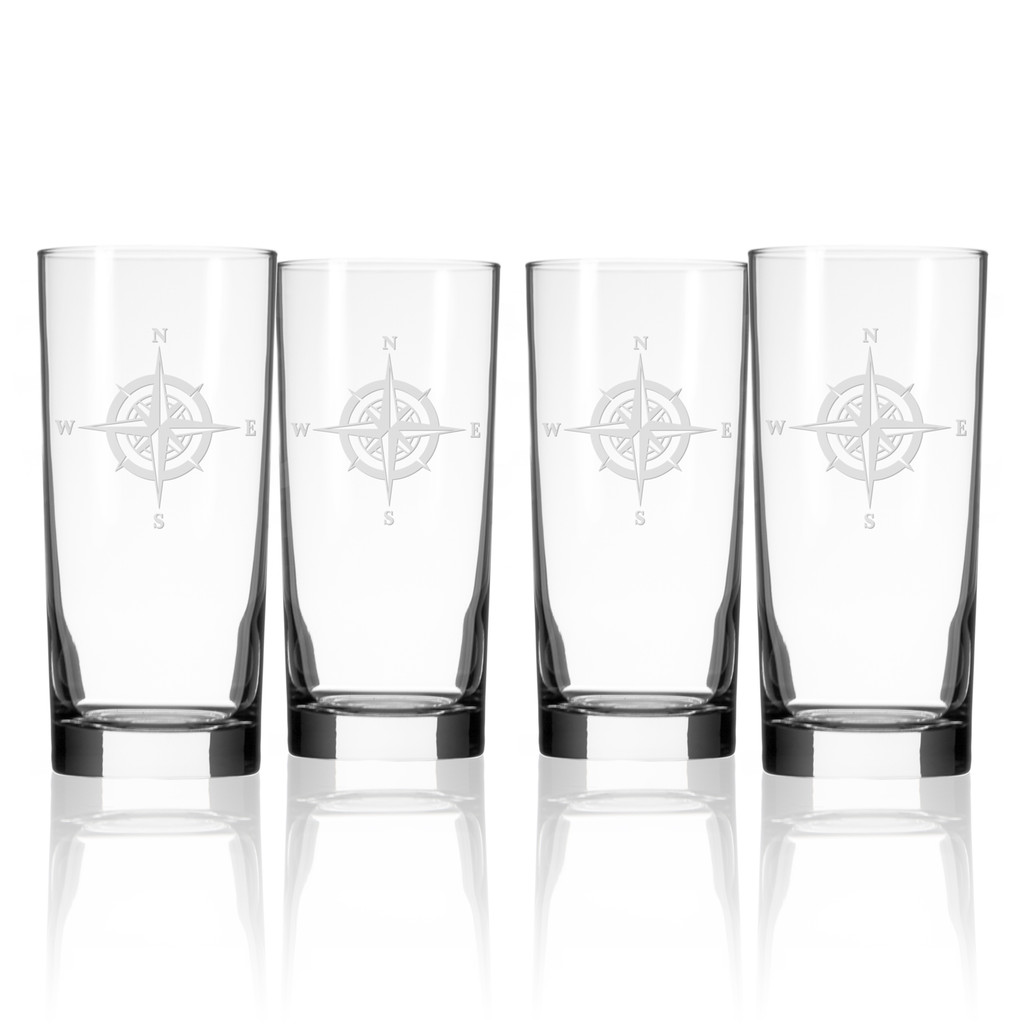 Compass Rose Etched Tall Cooler Glasses - Set of 4