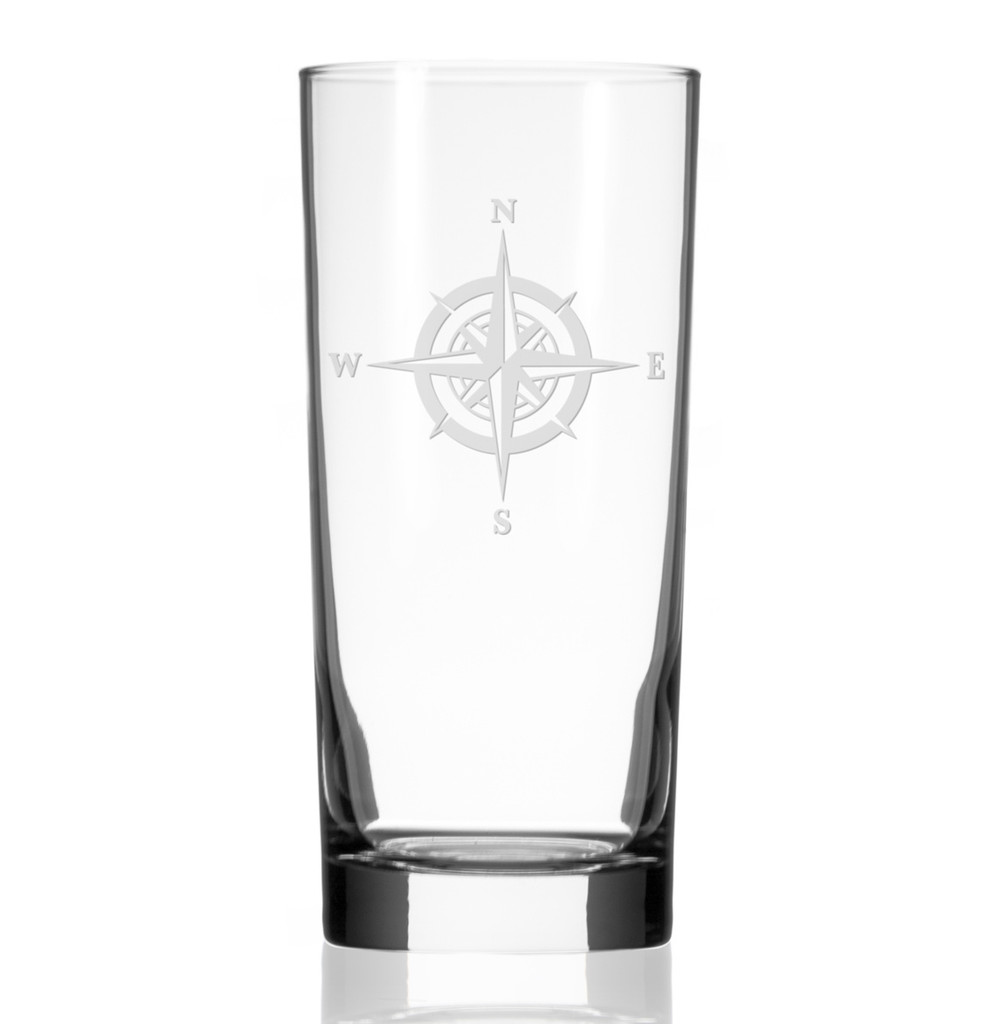 Compass Rose Etched Tall Cooler Glasses - single glass