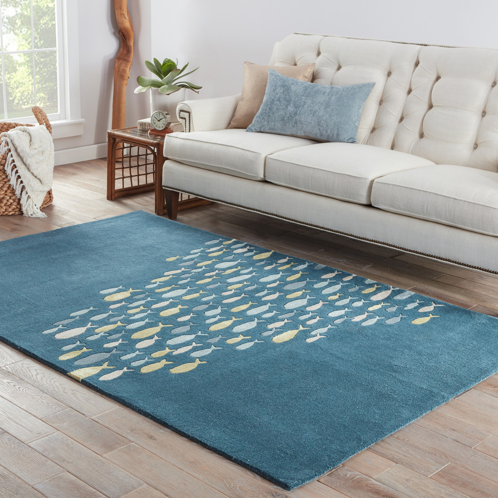 Captain's Blue Go Fish Wool Area Rug -room scene