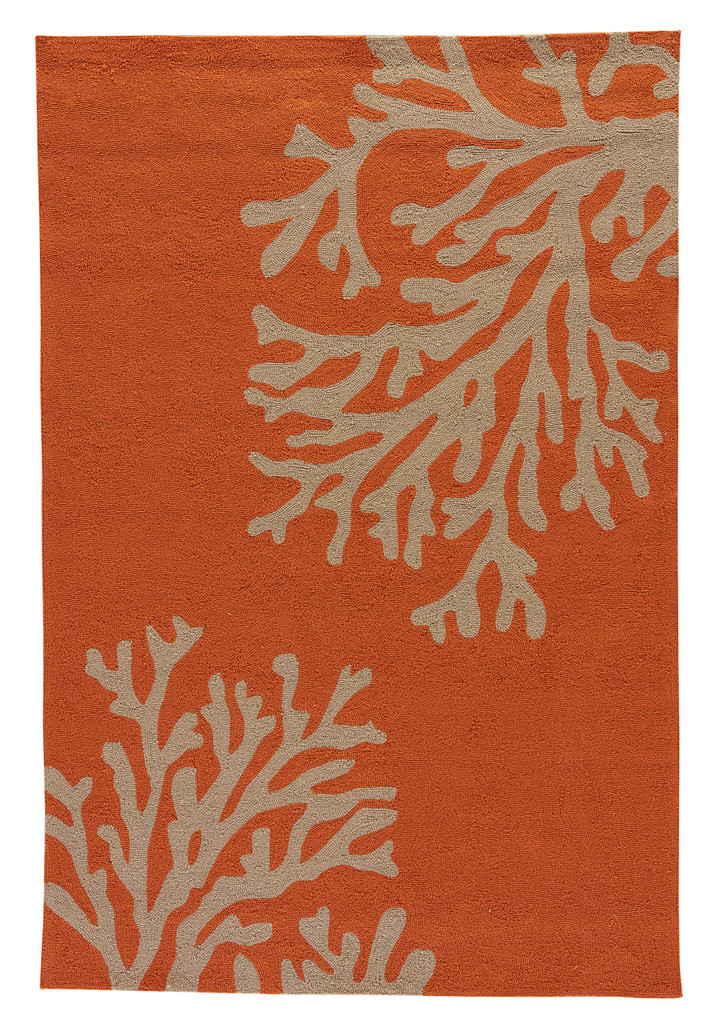 Coral Orange Branch Out Area Rug