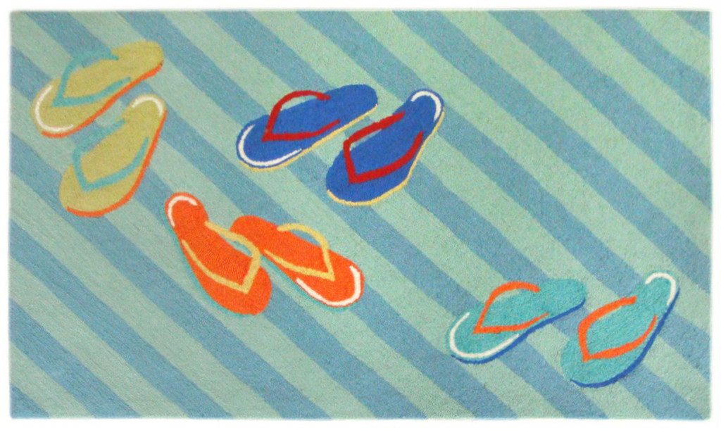 Colorful Striped Flip Flop Area Rug