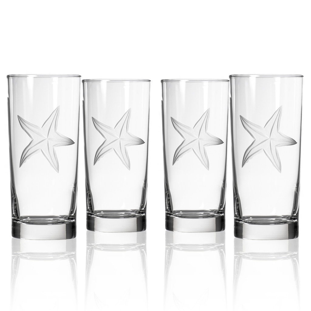 Starfish Etched Cooler Glasses - Set of 4
