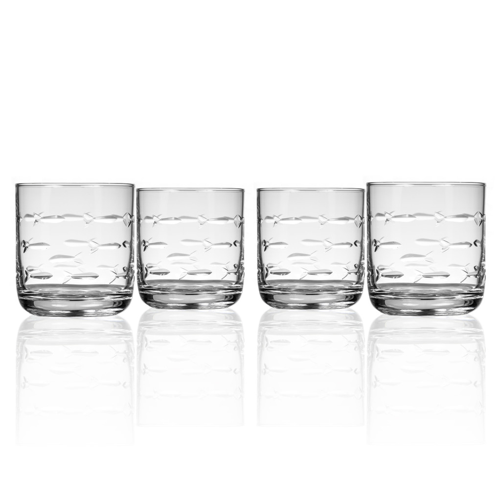 School of Fish Old Fashioned Tumblers - Set of 4 group shot