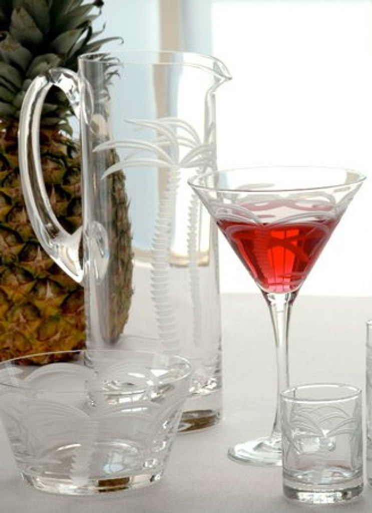 Palm Tree Etched Martini Glasses
