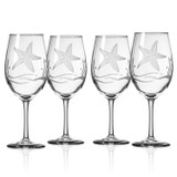 Starfish Etched Wine Goblets - Set of 4