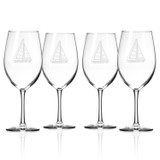 Sailboat Etched Large Wine Glasses - Set of 4