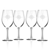 Compass Rose Large Wine Goblets - Set of 4