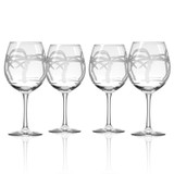 Palm Tree Etched Balloon Wine Goblets-Set of 4