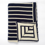 Beach Stripes Navy Knit Throw