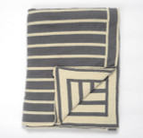 Beach Stripes Grey and Cream Knit Throw