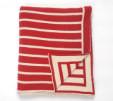 Beach Stripes Red Knit Throw