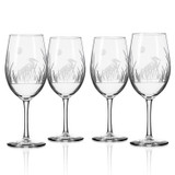 Heron Etched Wine Glasses - Set of 4