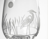 Heron Etched Wine Glasses Close up