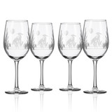 Heron Etched Wine Glasses- Set of 4
