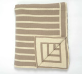 Beach Stripes Driftwood Grey and Cream Knit Throw