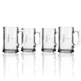 Fly Fishing Etched Beer Glasses - set of 4