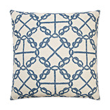 Circle Knots Luxury Nautical Pillow - Blue pillow front