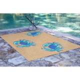 Bright Blue Crabs Area Rug 3 x 5 size