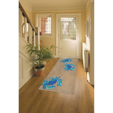 Bright Blue Crabs Area Rug runner room view