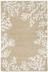Coral Bordered Beige Area Rug