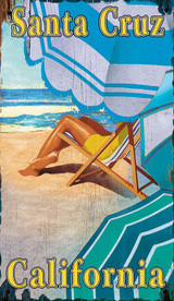 Custom Striped Beach Umbrellas Art Sign
