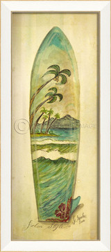 Palm Style Surfboard Art - white frame