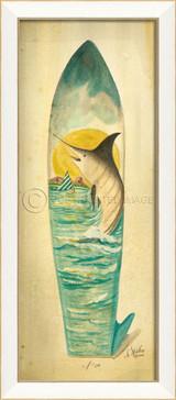 Large Marlin Surfboard Art - white frame