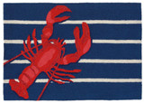 Lobster on Stripes Area Rug