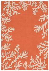Coral Bordered Orange-Coral Area Rug