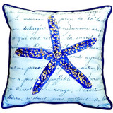 Blue Starfish with Script Pillow