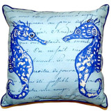 Blue Twin Seahorses with Script Pillow