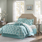 Aqua Blue Fretwork Comforter Set - Queen Size