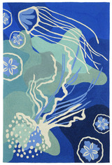 Ocean Blue Jellyfish Area Rug