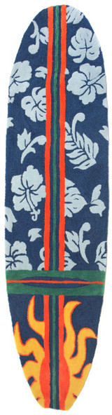 Surfboard Rug Hawaiian Navy Blue view 1
