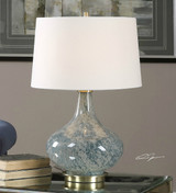 Sea Blue Gray Swirled Glass Lamp