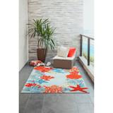 Aqua Ocean Scene Indoor-Outdoor Area Rug patio view