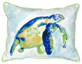 Bright Blue Sea Turtle Indoor-Outdoor Pillow