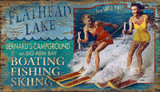 Ski Flathead Lake Art Sign
